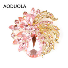 Round spider Flower Gold Color Brooch Cubic Zirconia Brooches For Female Pins Wedding Scarf Clip Collar Tips Hijab Pin