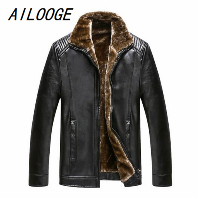 AILOOGE Leather Jackets Men Winter Jackets Men Clothes Long Wool & Blends Faux Fur Thick Quilted Parkas Men Warm Coats Big 5XL