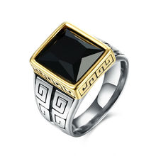 Traditional Stainless Steel Male Ring Inlay Black Square Glass Golden Fringe Jewelry Accessories Bague Homme Biker 2016 Jewelry