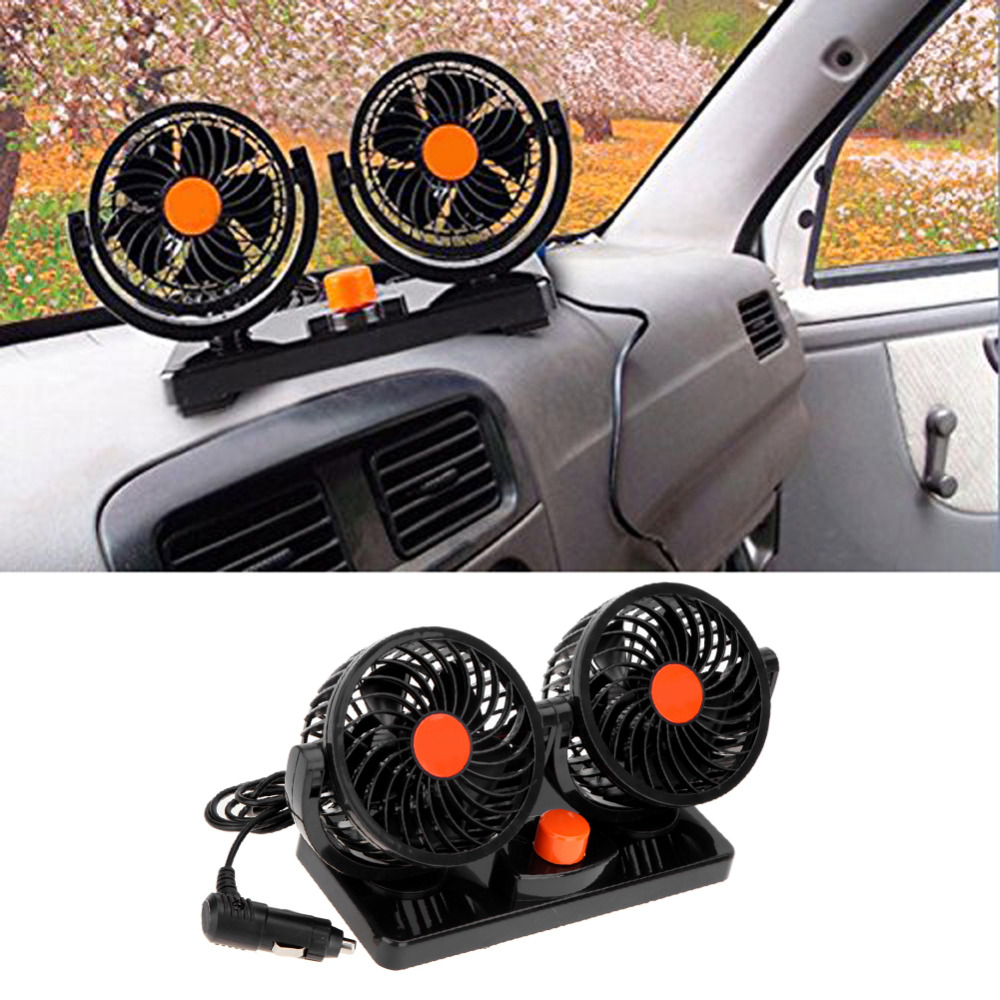 12V/24V Low Noise 360 Rotating Free adjustment Dual Head Car Auto Cooling Air Fan With Adhesive Sticker(China)