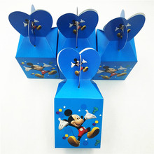 6pcsset Mickey Mouse Paper Candy Box Cartoon Happy Birthday Party Decoration Favors Theme Party Supplies Kids Blue Festival