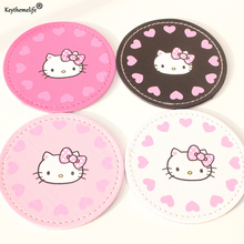 Keythemelife 2PCS Cartoon Cup Mat Cute Hello Kitty Cup Coaster Cup Cushion Holder Drink Cup Placemat Mat Pads Coffee Pad 0D