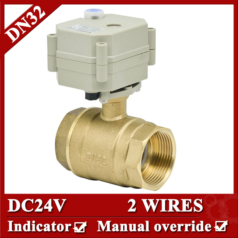 1 1/4  DC24V 2 wires Brass actuator ball valve DN32 Motorized valve with manual override for fan coil<br><br>Aliexpress