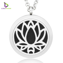 30mm Essential Oil Diffuser Necklace Aromatherapy Necklaces 100% Stainless Steel Essential Oil Diffuser Necklace Pendant