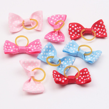 6 pcs/lot Fashion Handmade Pet Dog Hair Accessories Puppy Hair Bows Cat Hair Rubber Bands Boutique Pet Shop Supplies Wholesales(China)