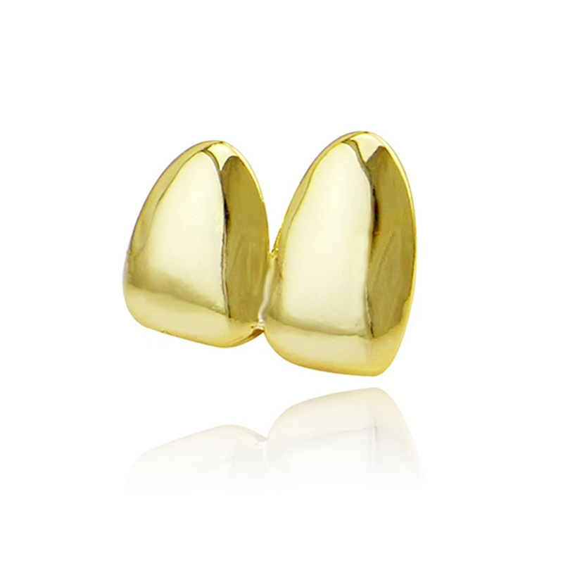 Factory Bottom Price 2 pcs Teeth Jewelry Real Gold Plated Teeth Grillz Hip-hop Cool Men Fake Tooth Grillz USA Hot Sale Halloween Gift (1)