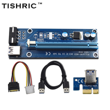 TISHRIC 60cm VER006 PCI-E PCI Express 1X to 16X Riser Card Extender USB3.0 DATA Cable SATA to 4Pin Molex Power Supply For Miner