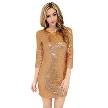 Fashion Sequins Dress Women O-Neck Long Sleeve Paillette Backless Bodycon Slim Pencil Dresses Spring