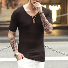 men's t-shirt sexy t-shirt knitting deep v neck t-shirts cotton tshirts Short Sleeve Tops Tees Men's Thin sweater T-shirt 2016(China)