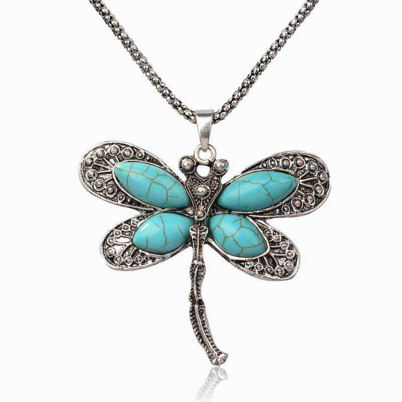 Vintage Stone Pendant Jewelry Necklace new 2017 Imitation Dragonfly Animal Antique Chain Stone Charm Pendant Necklace