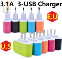 3USB Charger ports 3.1A USB US EU USB Charger Lovely candy color wall charger home plug for Android for iphone 7 cellphone 300ps