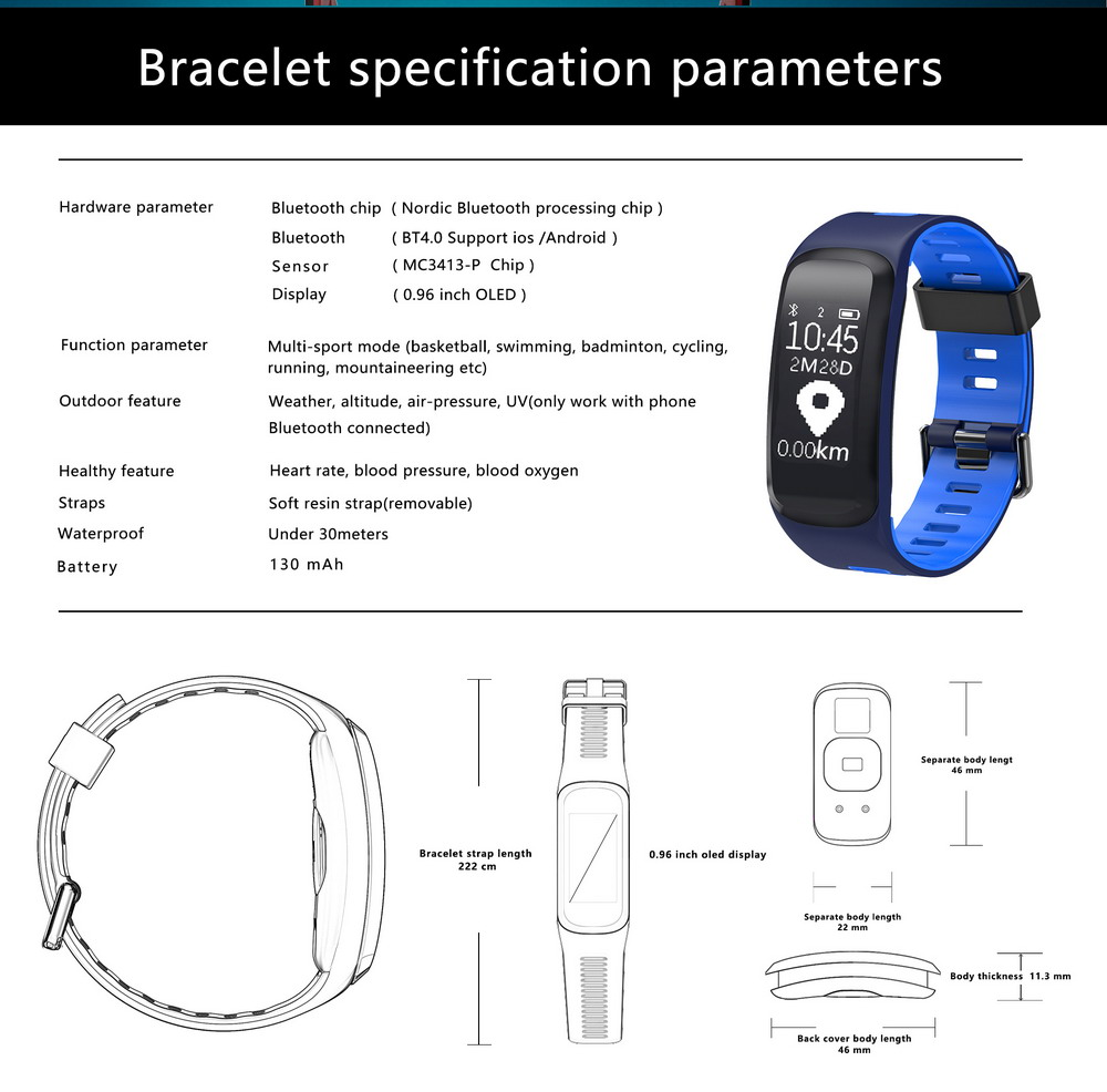 Volemer No.1 F4 Smart Bracelet IP68 Blood Pressure Blood Oxygen Heart Rate Monitor Smart band Fitness Tracker For IOS & Android