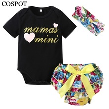 COSPOT 2018 New Girls Summer Clothes Newborn Clothing Set 3Pcs Headband+Bodysuit+Shorts Baby Floral Clothes Suits Jumpsuit 49C(China)
