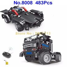 8008 483pcs 2in1 Technic Remote Control RC Sportscar Truck Racing Car Road Block Building Block Brick Toy