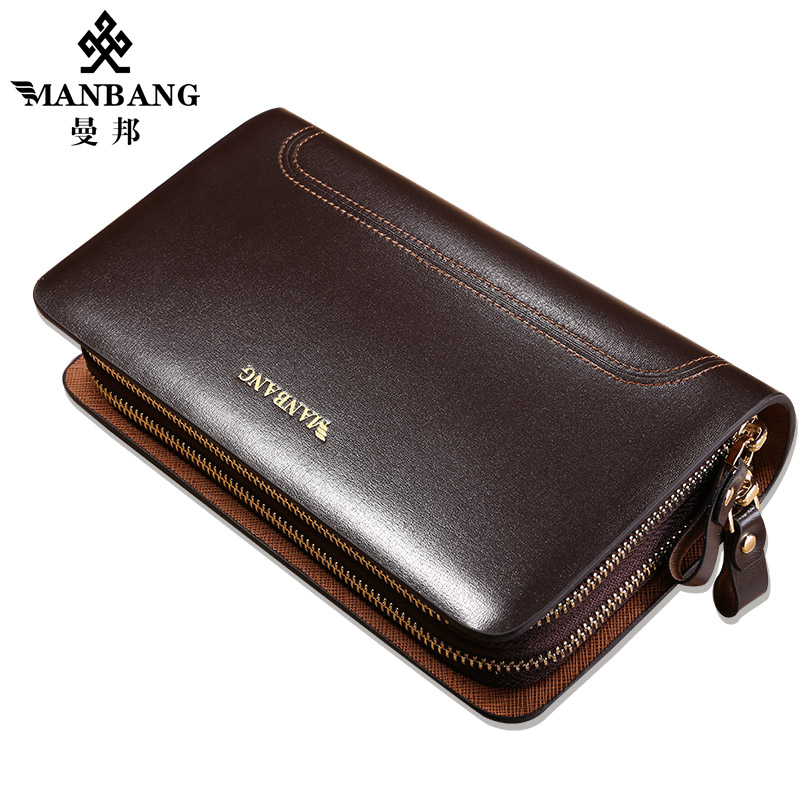Manbang Cluch wallet Cowhide Leather Mens Long wallet High quality cowhide luxury designer Big-capacity leather purse MBS0011<br>