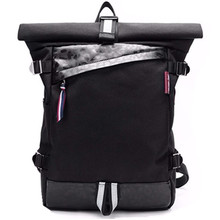 "15"" BLACK SUEDE VINTAGE ROLL TOP TREK RUCASACK 14"" LAPTOP SLEEVE ERGONOMIC PADDED BACK PANEL  URBAN BACKPACK  STREET BAG"