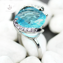 Blue Cubic Zirconia Jewelry Silver Plated beautiful Ring R909 sz# 6 7 8 First class products Recommend Favourite Best Sellers