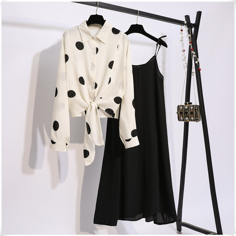 2019 Autumn Women Long Sleeves Dot Shirts + Black Spaghetti Strap dress 2 pcs sets Beautiful Suits A993