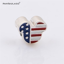 Pandulaso USA Flag Mouse Head Charm Beads For Jewelry Making Fit Charms Silver 925 Original Bracelets Beads DIY Jewelry(China)