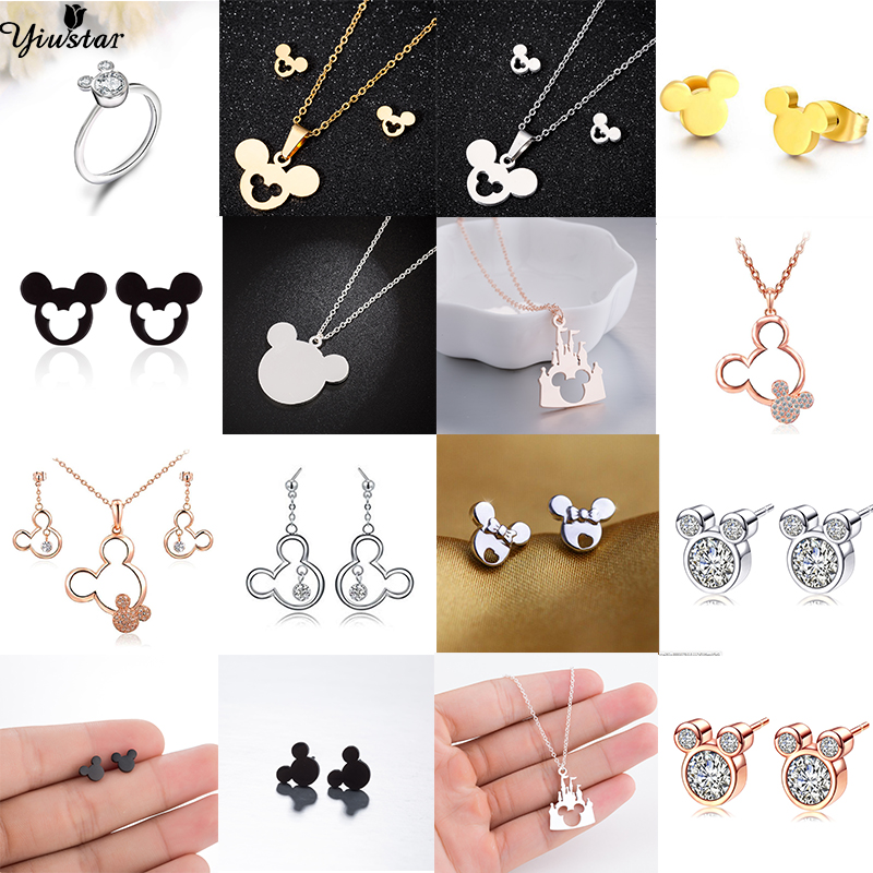 Yiustar New Arrival Cute Elegant Mickey Necklace Pendants Stainless Steel Animal Necklace Jewelry Christmas Gift(China)