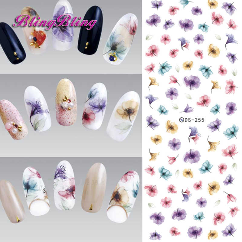 2pcs Gradient Nail Sticker Fantasy Flower Sticker Decals Water Tranfer Nail  Art Manicure Accessories For Nails 0f23e99d1fc8