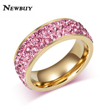NEWBUY Fashion Women Rings Gold-color Crystal Ring Fine Women Wedding Jewelry Stainless Steel Female Birthday Gift(China)