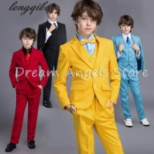 2017 New Child Blazers Suits Buying 4-14T Boy Clothing sets Coat + Pant +Vests Baby Costumes Solid Blue/Purple Kids Garment