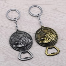 2017 New Designer Game of thrones Keychain As Opener House Stark Shield Round Key Chain Song Of Ice And Fire Key Ring JJ11967