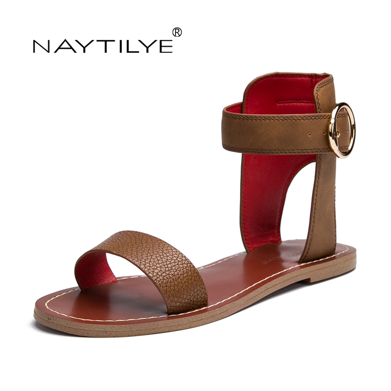 Woman non-leather casual shoe Ankle-Wrap flats sandals PU ECO Leather High quality 36-41 Free shipping NAYTILYE <br>