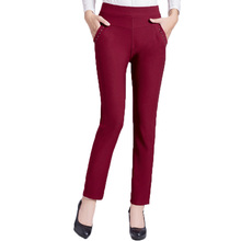 Woman Spring Summer Slim Fit Pant With Pockets Mature Lady High Elastic Waist Trousers Red Blue Khaki Straight Sequined Pant 40s