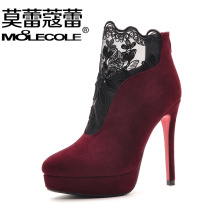 Free shipping ! size 35 - 39/ platform 3cm , heel 11cm / MOOLECOLE winter women's fashion Ankle boots / color black , wine red