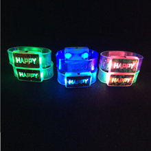 10 pcs Happy Glowing Bracelet Band LED Flashing Light Wrist Ring Fashion Running Gear Glowing Armband Kids Gift event party