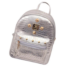 Bolsas 2017 Cute Leather Travel Backpack Women Vintage Zipper School bags for women Backpacks Mochila escolar Silver