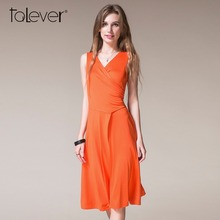 Buy 2017 Summer Talever Women Wrap Dress Sexy Deep V-neck Sleeveless Solid Knee-Length Vestidos Female Sashes Party beach Dresses for $12.90 in AliExpress store