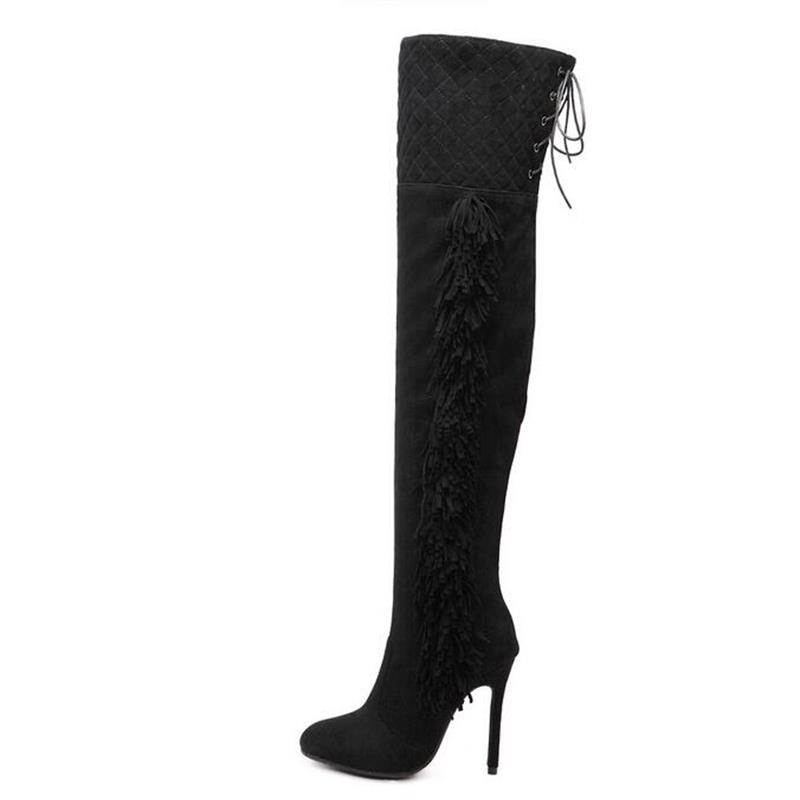 2017 New Arrived High Quality Star Favorites Over the Knee Thigh High Boots Side Tassels Thigh Lacing High-heeled Ladies Boots<br><br>Aliexpress