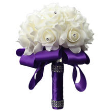 High Quality 2017 Practical Bridal Bouquet Rose Foam Crystal Diamante Wedding Handmade Bridesmaid Flower Top Wholesale Purple(China)