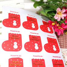 5 page/lot (45 pcs) Christmas stickers Red ugg boots adhesive sticker Candy box gift card decoration New Year party supplies(China)