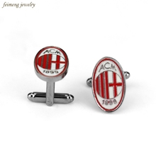 Italian Soccer Football Associazione Calcio Milan Cuflinks For Mens French Style ACM Brand Cuff Buttons Black Plated Cuff Links