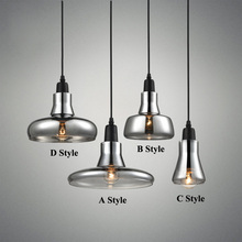 Modern Smoke Gray Glass Pendant Lights for Restaurant Special Disc Design Pendant Lamp lustres e pendentes sala jantar Lighting(China)