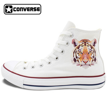 Diamond Tiger Converse All Star Shoes Men Women High Top White Canvas Sneakers Unique Birthday Christnas Gifts