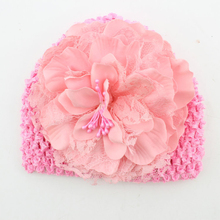 DreamShining Cute Baby Hat Fashion Flower Knitted Kids Cap For Girl Crochet Spring 6 Color Toddler Caps Clothing Accessories