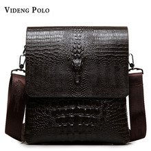 2017 NEW Vertical high quality leather men bag business casual alligator small shoulder bag Messenger bag crocodile grain bag