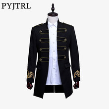 PYJTRL Men Double-breasted England Style Long Slim Fit Blazer Design Wedding Groom Suit Jacket Mens Stage Wear Singer Costume(China)
