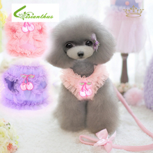 Hot Sale Pet Harness Dog Cat Lace Vest Pink Purple Adjustable Cute Collar Safety Control Puppy Dog Cat Harness Set FreeShipping