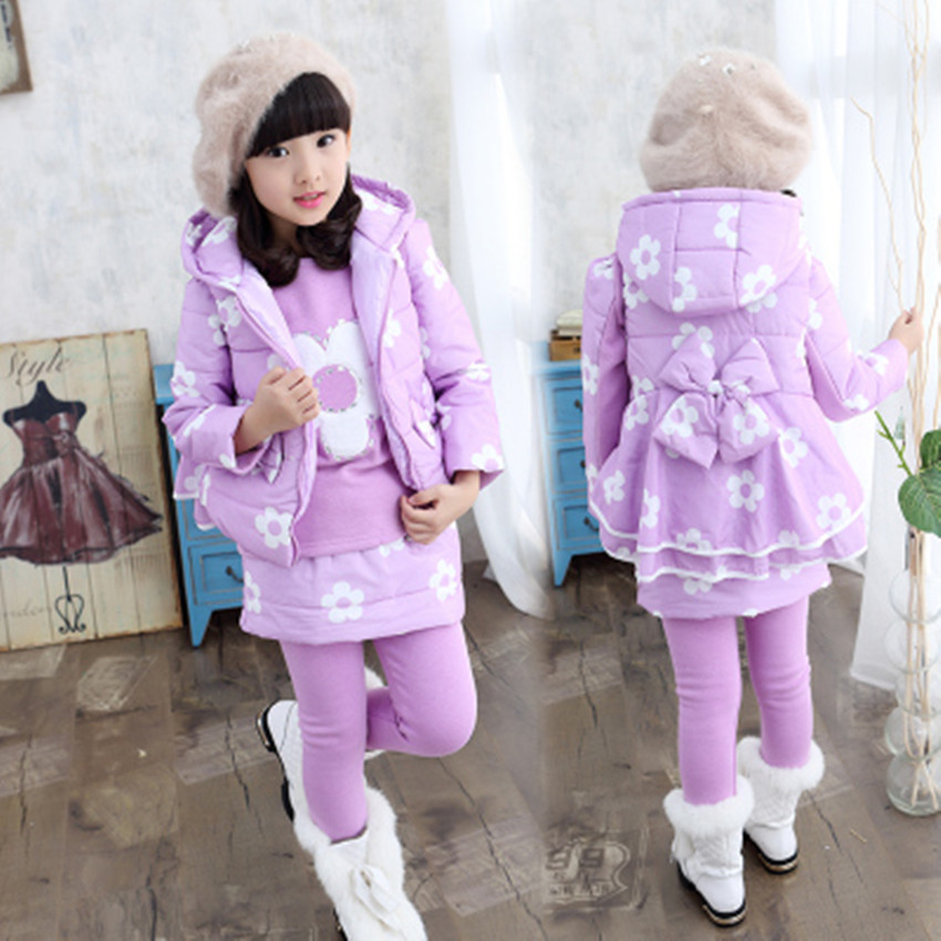 Hot 2017 autumn and winter new three-piece thickening of childrens girls plus velvet leisure fashion sportswear suit<br><br>Aliexpress