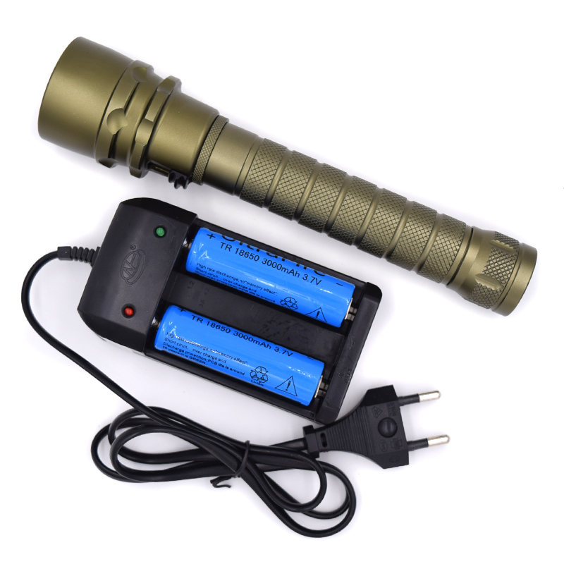 5000 Lumens 80M Diving Underwater Flashlight 3 x XM-L2 LED Waterproof Diver Torch Lanterna+ 2x 18650 Batteries+ US/EU Charger<br>