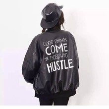 May Leaves Love 2017 Autumn Women Fashion PU Jackets Ladies BF Stylle Letters Prints Baseball Coats Free Shipping LK0058
