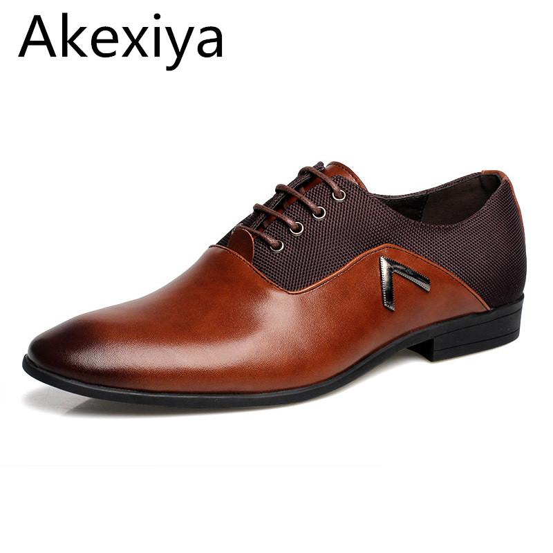 Akexiya New Mens Oxford Shoes 2017 PU Leather Solid Black Brown Yellow  Business Office Wedding For Men Flats Shoes Big Size<br>