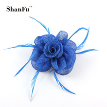 ShanFu Women Small Sinamay Fascinator for Wedding Church Feather Brooch Pin Cocktail Women Hair AccessoriesSFB7030 120pcs/lot(China)