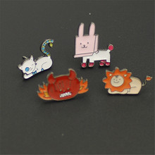 2017 free shipping fashion women New Jewelry wholesale Brooch small lion cat crab cute pin accessories SET